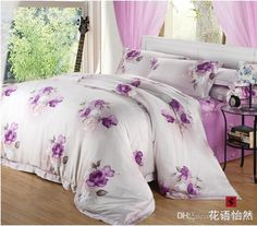 Wholesale Gift Bag - Buy European Style Tencel Purple Floral Comforter Covers Queen King Size Silk Duvet Cover Bed Linens Bedclothes Set Bedding Set in a Bag, $143.8   DHgate