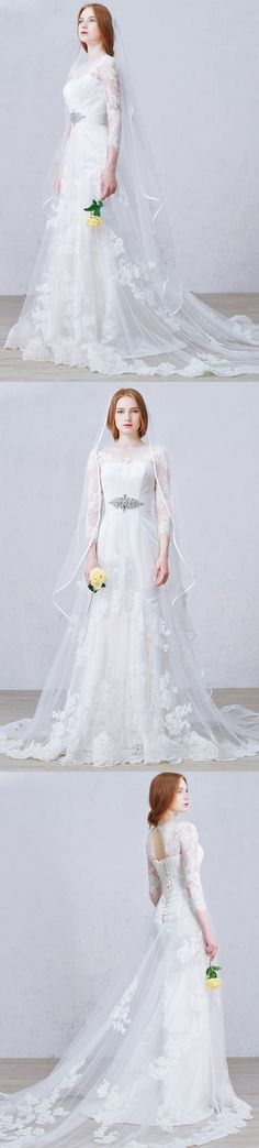 Custom made-to-order formal dress by GemGrace. Multiple colors and all sizes available. Additional photos also available upon request.  Shop this feminine and romantic, appliques lace scoop neck sweep train wedding dress on GemGrace.com