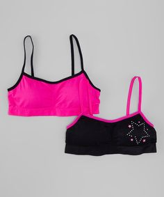 35b52a61e 1000% Cute Magenta   Black Heart Sports Bra Set - Girls