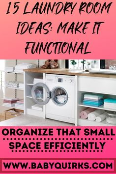 Do you have a small laundry room? Check out these tips to maximize your space. | Laundry Room Hacks | Maximize Space | Organize Laundry Room Laundry Room Cabinets, Laundry Room Organization, Doing Laundry, Small Laundry, Pull Out Ironing Board, Hanging Drying Rack, Ironing Station, Hanging Clothes, Home Management