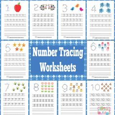 Free Numbers Tracing Worksheets 1 to 10