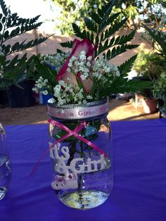 Its a girl. Baby shower centerpieces.  Mason jars.