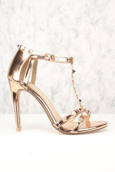 4f40951675 Sexy Rose Gold Open Toe Pyramid Studded Accent Single Sole High Heels Faux  Leather
