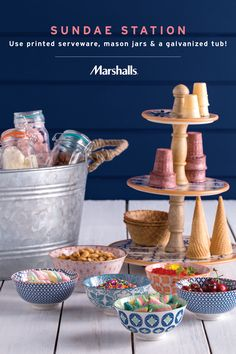 Create your own sundae station! Serve ice cream in glass mason jars and set over ice in a galvanized beverage bucket. Mix printed serving bowls for toppings, and use a three-tiered server to display waffle cones and cups. Visit Marshalls for your ice cream party essentials and use at all your summer events!