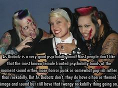 """femalefrontedbandsconfessions: """" 5578 As Diabatz is a very good psychobilly band! Most people don't like that the most known female fronted psychobilly bands at the moment sound either more horror..."""