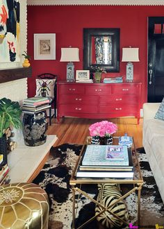 Red is a powerful color so if you want to incorporate it into a room of the house it should be the living room. Red living room designs are always vibrant and full of life and they also make great entertainment areas. Asian Living Rooms, Living Room Red, Living Room Carpet, Living Spaces, Small Living, Living Area, Red Rooms, Red Walls, Living Room Remodel