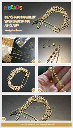 diy chain bracelet with safety pin as clasp