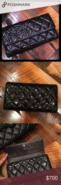 💯Chanel Trifold Quilted Wallet Excellent condition! Classic logo on front. Dark eggplant color. Slightly worn leather in some areas but still has plenty of life. Lots of storage. Beautiful wallet! 💕 CHANEL Bags Wallets