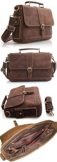 "Vintage Crazy Horse Leather Briefcase / Messenger / 11"" MacBook Air or 12"" Laptop Bag in Old Dark Brown"