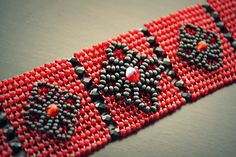 Seed Bead Embellished Herringbone Beadwoven Cuff Bracelet