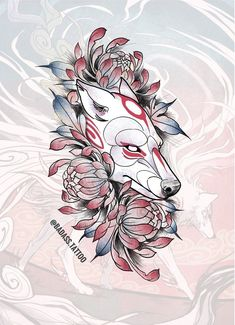 [already taken] ✽ Wannado ✽ Would love to do this kitsune mask in full color preferred on leg or arm Hit me up if you're interested ✨ Japanese Tattoo Cherry Blossom, Small Japanese Tattoo, Japanese Tattoo Meanings, Japanese Tattoo Women, Traditional Japanese Tattoos, Japanese Tattoo Designs, Japanese Sleeve Tattoos, Japanese Art, Wolf Tattoos