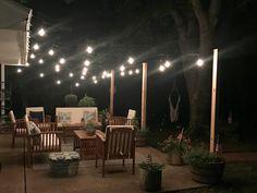 (@emptypocketsfarmhouse) on Instagram: patio lighting, conversation patio sets, farmhouse patio, oasis, Edison patio lighting #wayfairathome