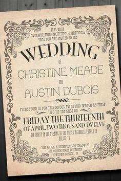 A vintage wedding invite with a stylish vintage curly border. Vintage Wedding Invitations | Confetti Daydreams ♥  ♥  ♥ LIKE US ON FB: www.facebook.com/confettidaydreams  ♥  ♥  ♥ #Wedding #Vintage #WeddingInvitations