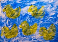 Activities for Rooster's Off to See the World & 10 Little Rubber Ducks (Eric Carle Week), duck sponge painting, eric carle, ten little rubbe...