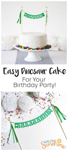 The perfect cake topper for your dinosaur themed birthday party.  Kids love to see their names on things because it makes it feel special!