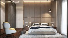 "Apartament 3 camere - Complex ""Nordis"" București - Creativ-Interior Interior, Minimalism, Divider, Bed, Modern, Room, Furniture, Design, Home Decor"