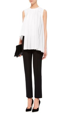 Cotton Poplin Asymmetrical Pleated Sleeveless Top by MARNI Now Available on Moda Operandi