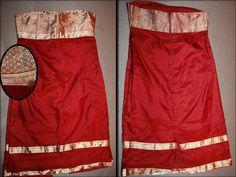 Red Silk Sari Strapless Dress. Designed by Payal Patel.