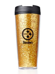 Pittsburgh Steelers Coffee Tumbler - PINK - Victoria's Secret from VS PINK. Saved to Things I want as gifts. Steelers Gear, Here We Go Steelers, Pittsburgh Steelers Football, Pittsburgh Sports, Steelers Stuff, Steelers Apparel, Steelers Fans, Steel Curtain, Steeler Nation