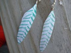 Green Feather Earrings by Sapphire107 on Etsy, $9.00