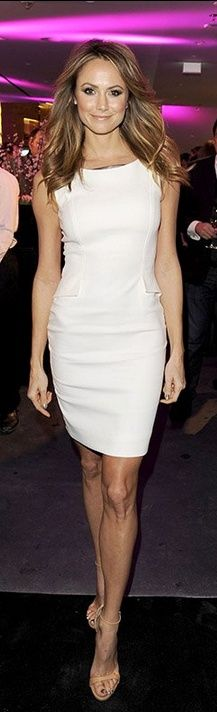 Who made Stacy Keibler's white peplum dress and nude sandals that she wore in Berlin? Dress – Escada  Shoes – Giuseppe Zanotti