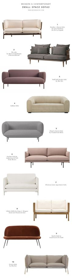 Small space sofas, compact sofas, settees, contemporary loveseats, apartment sofas