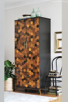 Melamine Wardrobe Makeover using Hexagon Parquetry | The Painted Hive