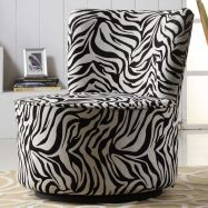 A round swivel chair is a fun and comfortable addition to any room in your home.  This chair features a zebra print pattern for a touch of modern style.