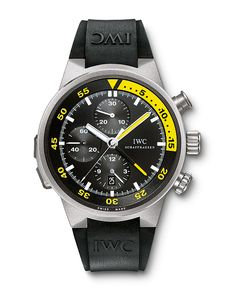 With the Aquatimer Split-Minute Chronograph Ref. 3723, @iwcwatches launched (2004) a divers' watch equipped with a world-first function: a split-minute hand that operated separately from the chronograph and could be activated or deactivated underwater, to a depth of 120 meters. http://www.watchtime.com/wristwatch-industry-news/watches/diving-into-history-5-milestone-iwc-aquatimer-watches/ #iwcwatches #watchtime #divewatch