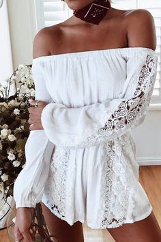 Brown Hat + White Off The Shoulder Lace Playsuit + Brown Leather Booties + Brown Leather Bag Trendy Summer Outfits, Chic Outfits, Spring Outfits, Red Denim Skirt, Black Leather Skirts, Lace Playsuit, White Playsuit, Coachella Dress, Rush Dresses