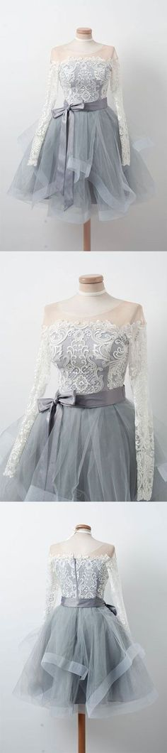 Gray round neck tulle lace short dress.