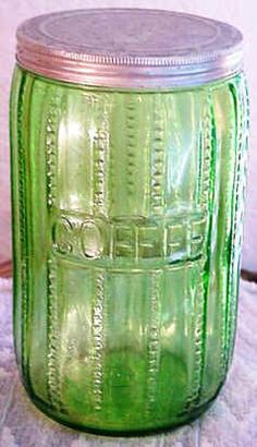 """Transparent Green Zipper Coffee Jar  Since the """"Zipper"""" pattern glassware was sold as an upgrade during lean economic times, it was not as common at the time and even rarer today. And the Transparent Green pattern and Ringed Zipper pieces are rarer still. Zipper pattern pieces can exhibit considerable variation in strength of pattern, shape, color and weight."""