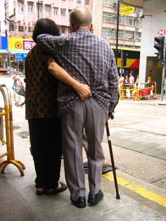 love means growing old together and holding his pants up for him :)