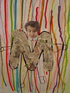 Techniques: déchirer du papier et faire des traits au crayon... Autoportrait avec la première lettre du prénom.
