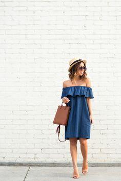petite fashion blog, lace and locks, los angeles fashion blogger, morning lavender boutique, off the shoulder denim dress, cute casual dresses                                                                                                                                                                                 More