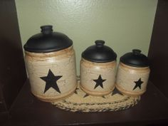 Primitive Crackle Painted Ceramic Canister Set of  ~ Black Stars ~ Country Decor #NaivePrimitive