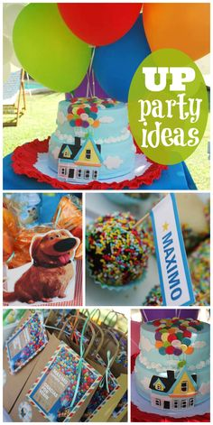 lots of balloons and an awesome cake!  See more party ideas at CatchMyParty.com!