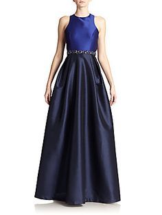 ML Monique Lhuillier Two Toned Cross-Back Beaded Gown <br>