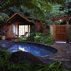 Shangri La Asian Inspired Pool House In Mill Valley California With Tropical Garden