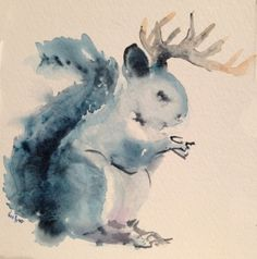 Dear Squirrel - This is original watercolor (gouache) illustration card, ideal for Christmas sweet notes and gifts.