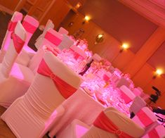 A Crystallized Fuchsia Wedding Ceremony and Reception Decoration Wedding Reception Chairs, Reception Decorations, Wedding Ceremony, Wedding Linens, Wedding Rentals, Home Design, Birthday Chair, Chair Cover Rentals, Wedding Spot