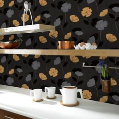 Flori Mustard / Black | Graham and Brown