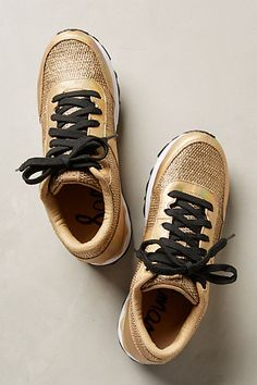 Gold sneakers // awesome design #anthrofave by Anthropologie