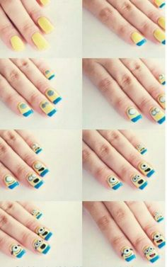 Step by step how-to on Minion nail designs.
