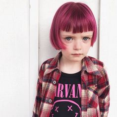 This little #DyeHard stole the hearts of #ManicPanic fans everywhere with her #Nirvana tshirt and #FuschiaShock tinted hair.