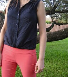 Petite Poupee: Tree Tops: coral pants and  navy