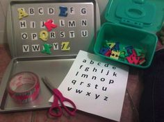 Cost me $2.00. Cookie sheets and magnet letters from the dollar tree. Kids can match correct letters. This also can be used in lower case letters and numbers. My son is loving this! Can't wait to use this in my classroom for a center!