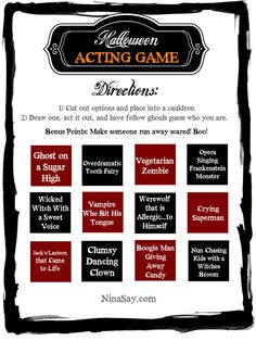 Halloween Acting Game FREE Printable