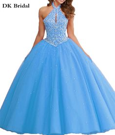 DK Bridal New Sky Blue Halter Beaded Top Quinceanera Dresses Vestido de 15 Anos Tulle Ball Gown Sweet 16 Party Dresses
