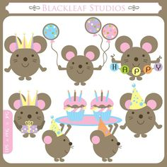 Party Mouse - birthday mouse, party hats, celebration mouse, animals, cute animals, scrapbooking - Personal and Commercial Use Clip Art
